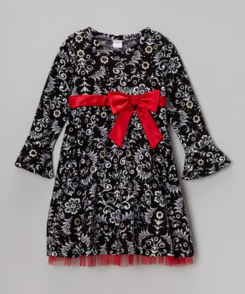Black & White Damask Print Bow Dress - Toddler & Girls