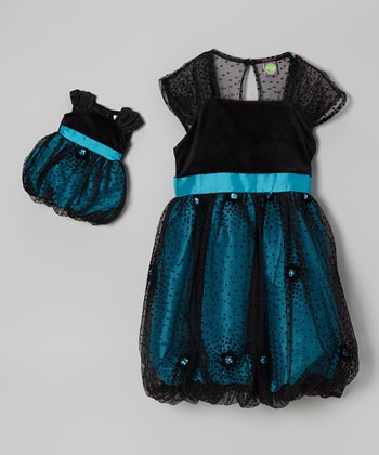 Turquoise & Black Bubble Dress & Doll Dress - Girls