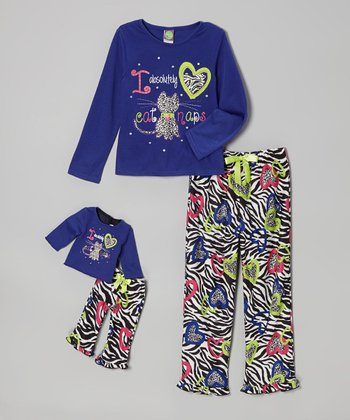 Royal 'Catnap' Pajama Set & Doll Outfit - Girls
