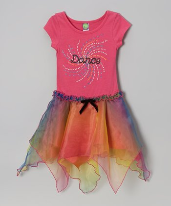 Pink 'Dance' Handkerchief Hem Dress - Girls