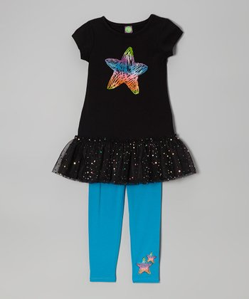 Black Star Tutu Tee & Blue Leggings - Girls