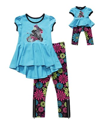 Aqua & Floral Shoe Leggings Set & Doll Outfit - Girls