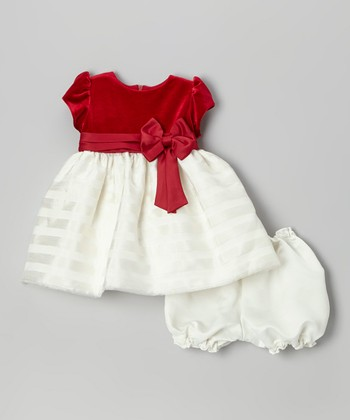 Red Velvet & Ivory Stripe Dress & Bloomers - Infant