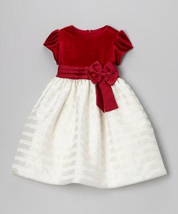 Red Velvet & Ivory Stripe Dress - Toddler & Girls