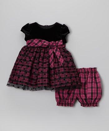 Fuchsia Plaid Dress & Bloomers - Infant