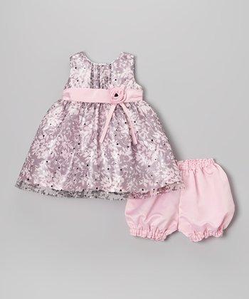 Pink & Black Glitter Floral Dress & Bloomers - Infant