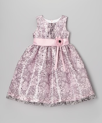 Pink & Black Glitter Floral Dress - Toddler & Girls