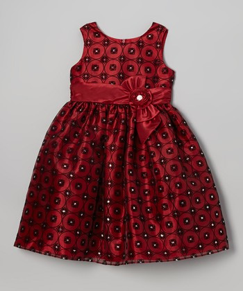 Red & Black Flocked Rhinestone Floral Dress - Girls