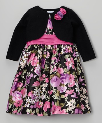 Pink Floral Shantung Dress & Black Bolero - Girls