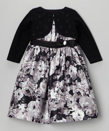 White Shantung Dress & Black Bolero - Toddler & Girls
