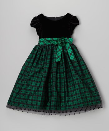 Green & Black Plaid Polka Dot Cap-Sleeve Dress - Toddler & Girls