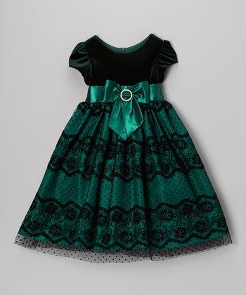 Green Velvet Lace Bow Dress - Toddler & Girls