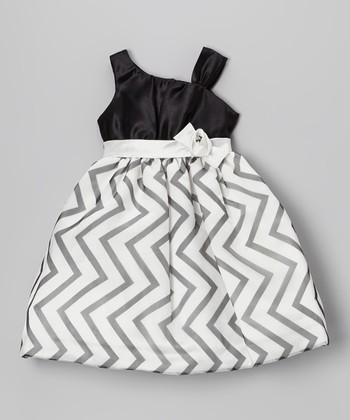 Black & White Zigzag Asymmetrical Dress - Girls