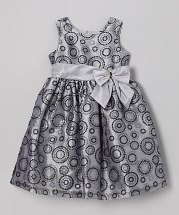 Silver Circle Glitter Organza Dress - Toddler & Girls