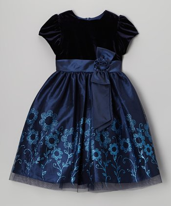Navy Velvet Glitter Floral Dress - Girls