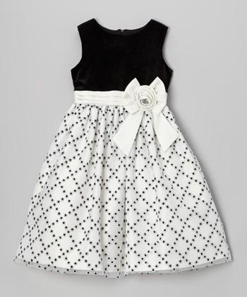 Black & White Glitter Diamond Dress - Girls