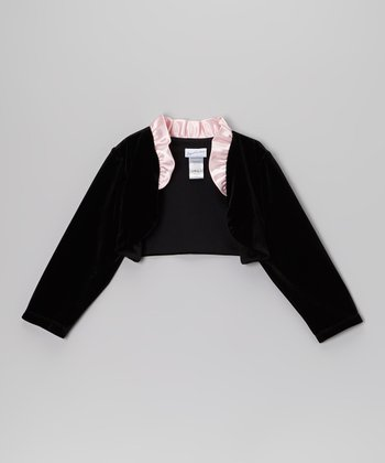 Black & Pink Ruffle Bolero - Toddler & Girls