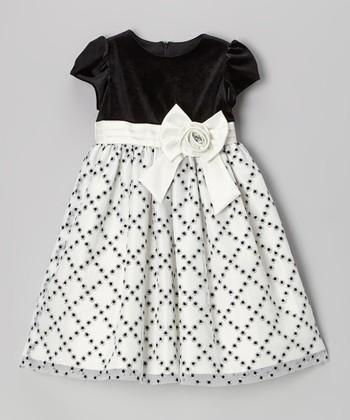Black & White Glitter Diamond Cap-Sleeve Dress - Toddler & Girls
