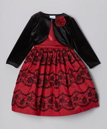 Burgundy Flocked Glitter Dress & Black Bolero - Toddler & Girls
