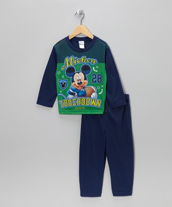 Green & Blue 'Touchdown' Mickey Pajama Set - Toddler