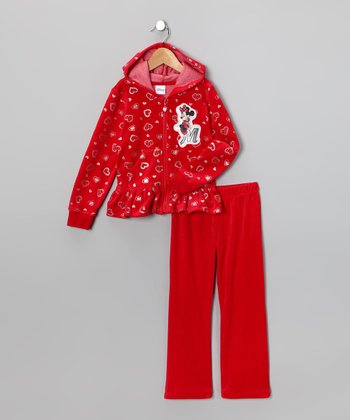 Red Minnie Velour Zip-Up Hoodie & Pants - Infant & Girls