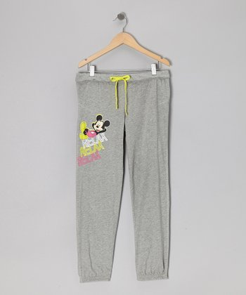 Gray Mickey Mouse Drawstring Capri Pants - Girls