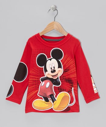 Red Mickey Mouse Layered Tee - Toddler