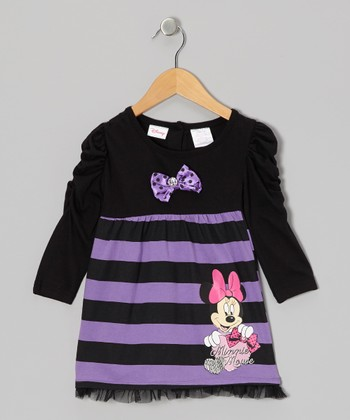 Black & Purple Stripe Dress - Infant
