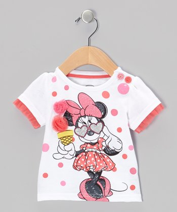 White Minnie Puff-Sleeve Top - Toddler