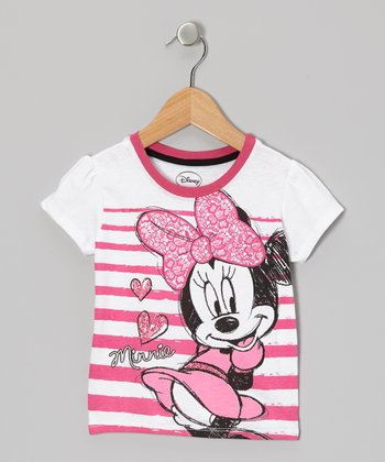 Bright Pink Stripe Minnie Tee - Toddler