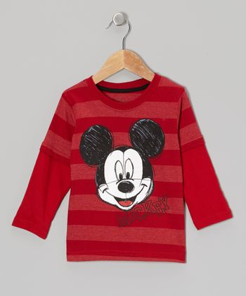 Red Stripe Mickey Layered Tee - Toddler