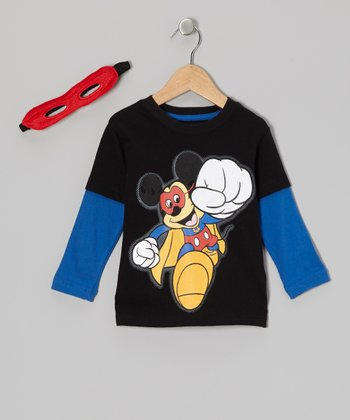 Black Super Mickey Layered Tee & Mask - Toddler