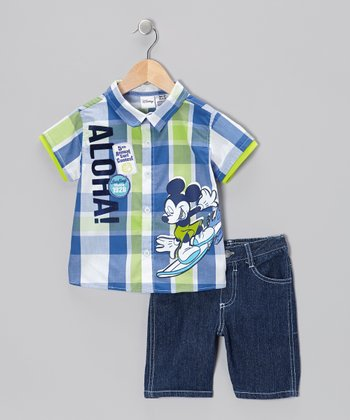 Blue 'Aloha' Mickey Tee & Shorts - Toddler & Boys