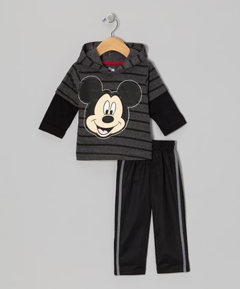 Gray Mickey Hoodie & Pants - Infant