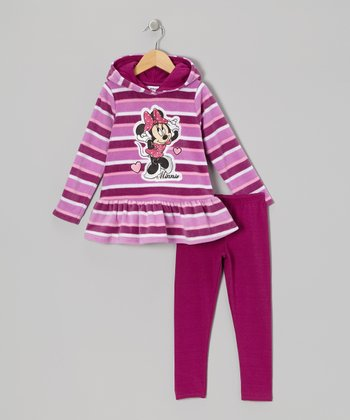Dark Purple Stripe Minnie Hoodie & Pants - Infant