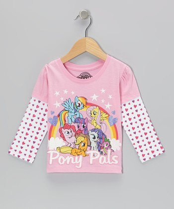 Pink 'Pony Pals' Heart Layered Tee - Toddler