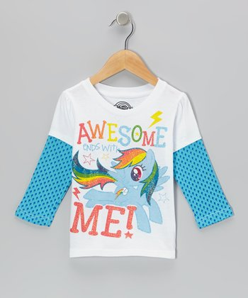 White & Blue 'Awesome Ends With Me!' Layered Tee - Toddler