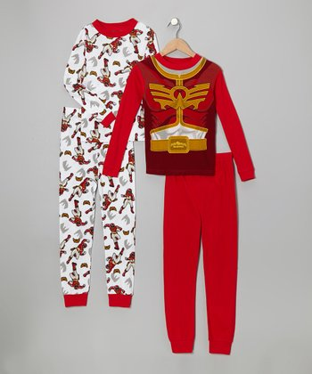 Red & White Power Rangers Pajama Set - Boys