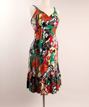 Orange & Green Floral Maternity Dress