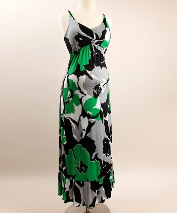 See You in Miami - Green Floral Maternity Maxi Dress