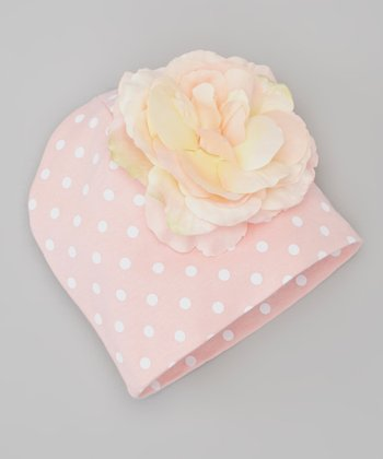 Pale Pink Polka Dot Rose Beanie