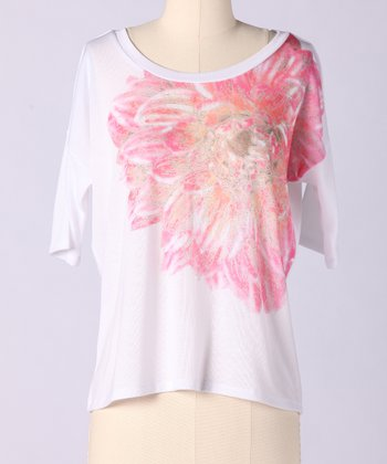 White Blooming Dahlia Tee