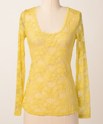 Lemon Sheen Lace Lover Long-Sleeve Tee