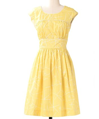 Lemon Fine Focus Cap-Sleeve Dress