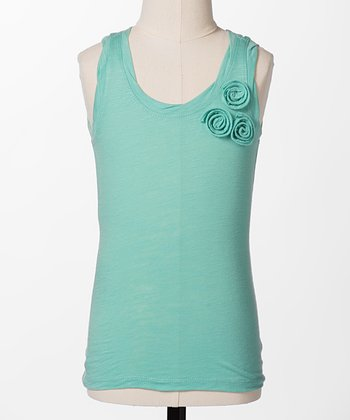 Pool Blue Flower Tank - Girls