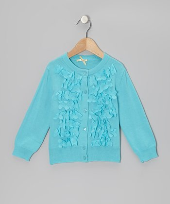 Blue Frosted Flowers Cardigan - Girls