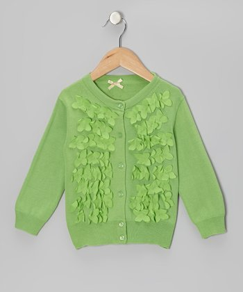 Green Frosted Flowers Cardigan - Girls