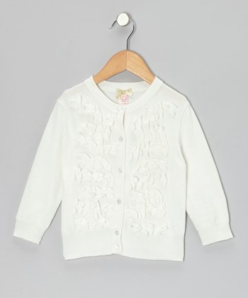 White Frosted Flowers Cardigan - Girls