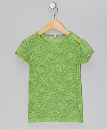 Budding Green Little Lace Tee - Girls