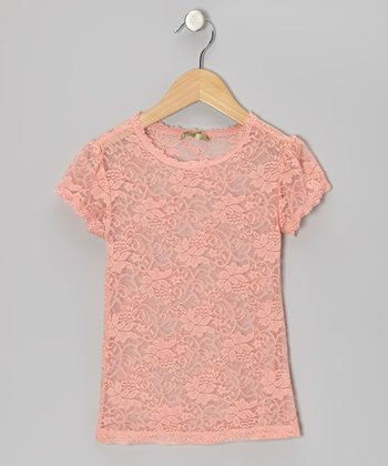 Pink Pear Little Lace Tee - Girls